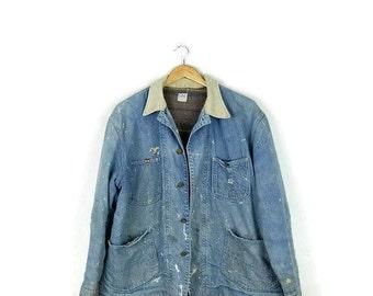 Vintage Distressed /Destroyed  Lee 81-J  Denim Railroad Engineer Jacket/Lined Work Jacket from 1970's/Grunge*