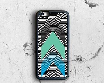 Geometric iPhone 6 Case, Blue Mint Chevron iPhone 6 Plus Case, iPhone 6s Case Patterned, Rubber iPhone 6 Case