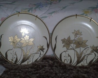 Antique Prussia Red Griffin Mark Gold Floral Flower Plates by P. Donath