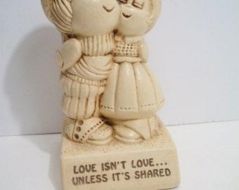 Vintage Paula Figurine Love Isnt Love Unless Its Shared Retro 1973 Valentines