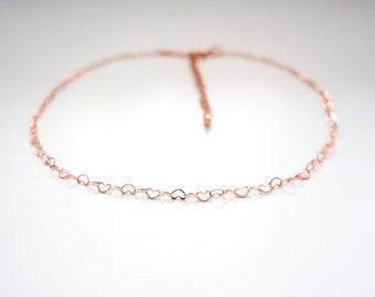 Heart Choker, Rose Gold Plated Heart Link Chain Choker, Adjustable Size