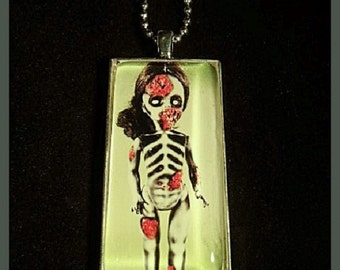 "Creepy Silver Zombie Doll Pendant with 23"" Ball Chain Necklace"