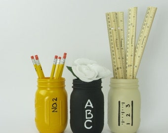 Mason Jars, Back to School, Pencil, Chalk, Ruler, Teacher Gift, Teacher Appreciation, Classroom Decor