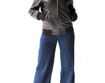 70s Andhurst Leather Bomber Jacket | Mod Motorcycle Biker Jacket. Retro Fall Jacket. Hipster Flight Jacket | Lined Dark Brown Leather | m/l