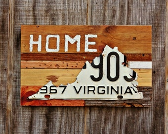 """Virginia Vintage License Plate """"Home"""" Sign On Reclaimed Wood - The Reclaimed Home Collection"""