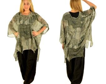 HO300ZT5 tunic blouse chiffon Gr. 44 46 48 50 52 54 olive