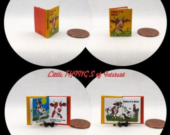 EMILY'S MOO Miniature Book Dollhouse 1:12 Scale Illustrated Readable Book