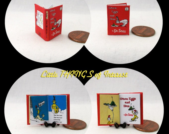 GREEN EGGS And HAM Miniature Book Dollhouse 1:12 Scale Dr. Seuss Color Illustrated Readable Book Children's Nursery Story