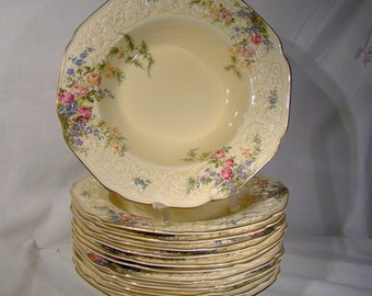"""12 Crown Ducal Rosalie 9"""" Soup Bowls Plates 1930s 1950s Great Pasta Bowls"""