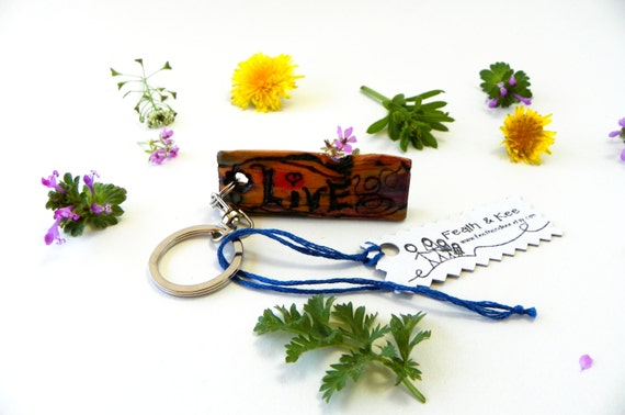 Reclaimed Wood Key Chain from Feath and Kee