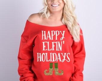 Happy Elfin Holidays Sweatshirt. Cute Christmas Sweatshirt. Elf Christmas Sweater. S-5XL