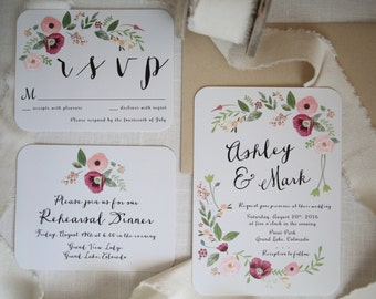 Pink, Burgundy Poppies Wedding Invitations, Floral, Vintage, Rustic, Bohemian, Garden