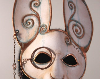 The White Rabbit- hand made leather masquerade mask