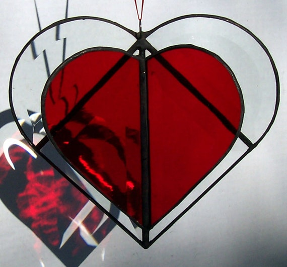 Beveled Glass Heart With Red Heart Inside, 3D Suncatcher, Valentine Gift, 2 Hearts Beat As 1, Stained Glass Heart Within A Heart, Suncatcher