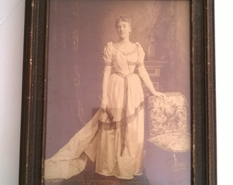 Antique Edwardian Lady Framed Photograph --- Early 20th Century Home Decor --- 1900's Wall Art --- Vintage Edwardian Cottage Beautiful Ghost