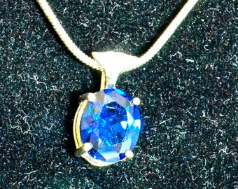 Blue Zircon Pendant/Necklace, 10x8mm Oval, Natural, Set in Sterling Silver P630
