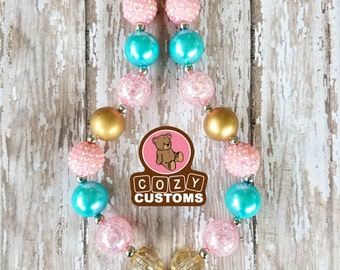 Rhinestone Minnie Mouse Pink/Gold/Teal Chunky Necklace