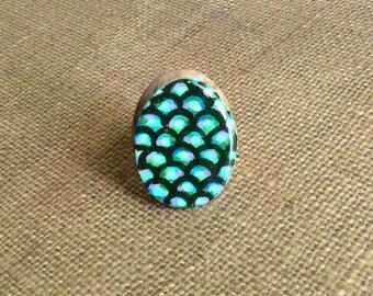 Mermaid Ring, Statement Ring, Painted Wood Ring, Mermaid Jewelry, Nautical, Resin Ring, Natural Ring, Large Irridescent Ring