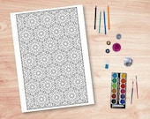 Printable Islamic Colouring Page with Geometric Design #10