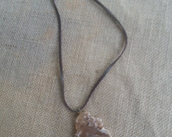 Agate necklace on brown leather cord