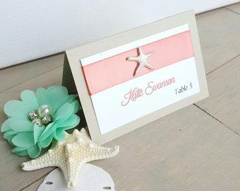 25 Coral Starfish Table Cards, Starfish Wedding, Escort Cards, Beach Wedding, 25 Table Cards