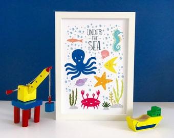 Under The Sea Print, Bathroom Wall Art, Seahorse, Sea Shells, Octopus, Starfish, Crab, Kids Wall Art, Ocean Art, Nautical Nursery Decor
