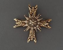 Vintage ACCESSOCRAFT Maltese Cross Brooch Pendant, Large Maltese Cross Pin Gold Tone, Big Gold Cross Pendant Accessocraft, Designer Jewelry