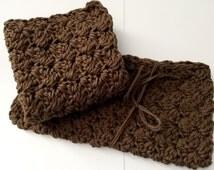 """Set of 2 Wash Clothes/ 8""""x 8"""" Crochet Dish Cloth/ Cotton Dish Cloth/ Brown Cotton Dish Cloth/ Cotton Wash Cloth/ Crochet Wash Cloth"""