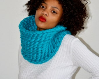 Turquoise Snood/ Snood Scarf/ Crochet Snood/ Tunnel Scarf/ Crochet Cowl/ Turquoise Cowl/ Trending Cowl/ Gift for Her/ Christmas Gift