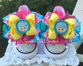 CUPCAKE QUEEN SHOPKINS Shoes Girls Birthday Outfit Shopkins Bow Shopkins Party Pink Turquoise Yellow Costume Birthday Shoes Converse