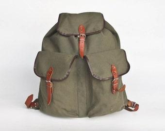 Vintage Hiking Backpack / Canvas Rucksack / Leather Straps / Olive Army Green