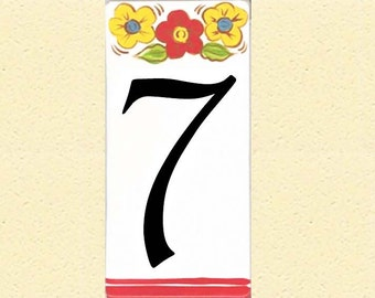 """House numbers, Hand painted, porcelain, size 4 x 8"""" - Single number, red/yellow flowers"""