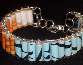 Punctuated in Blue Recycled Paper Bead Boho Memory Wire Bangle Bracelet