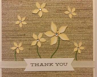 THANK YOU Glittered flowers  with rhinestones handmade greeting card