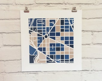 George Washington University Map Print