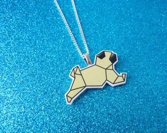 Fawn origami pug necklace, pug necklace, geometric necklace, origami necklace, origami gifts, origami jewellery, pug gifts, girls necklace