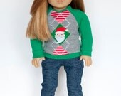 American Girl Doll sized Christmas piccadilly shirt - green with Santa
