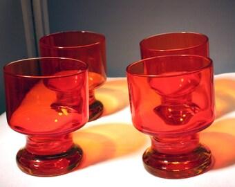 Viking (?) Persimmon Orange Amberina Tumblers/Sale was 25