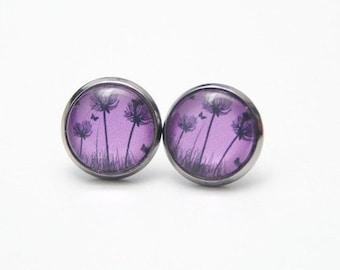 """Earrings """"Dandelion purpleblack"""""""