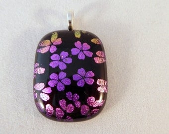 Pink Flower Dichroic Fused Glass Pendant, Dichroic Pendant, Fused Glass, Fused Glass Pendant, Flower Pendant, Dichroic, Pendent, Pink, Black