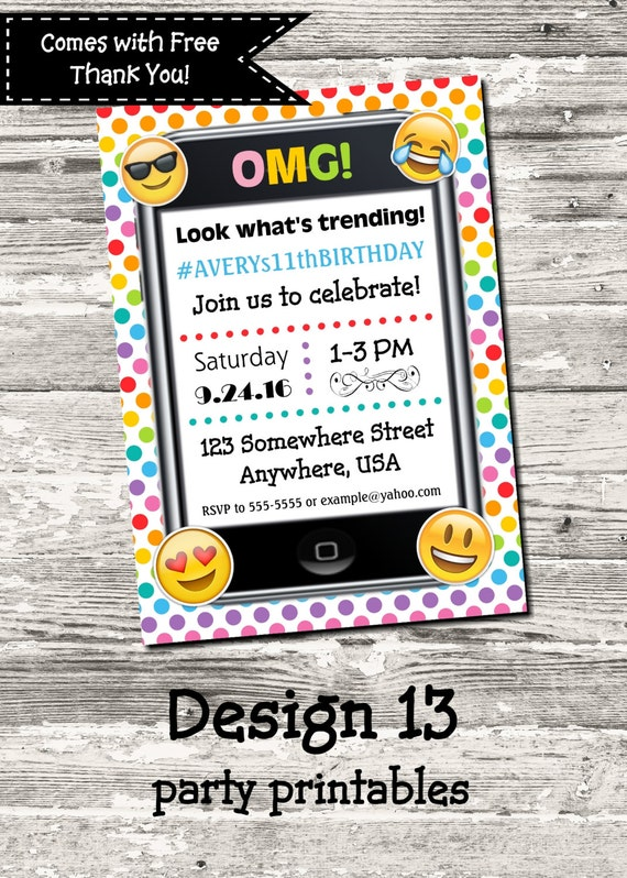 Emoji Cell Phone Trending Birthday Party Invitation Rainbow Polka – Cell Phone Birthday Invitations