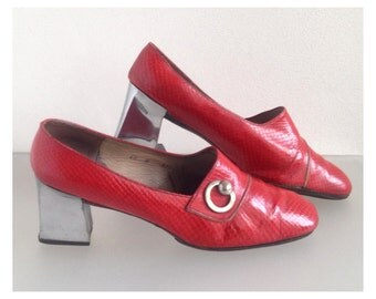 RARE Vtg CHRISTIAN DIOR Mod Space Age Leather Snake Skin Shoes Pumps 1960s - Excellent Condition !