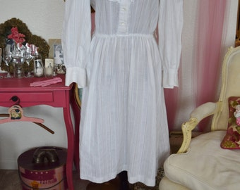 Vintage Woman's White Country Medium Large Button Up Ruffle Dress
