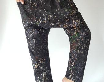 HC0125 Color explosion Handmade Thai Fisherman Pants, Wrap pants, Unisex pants Harem Pants,  Hip Hop Harem Pants, Hip Hop Dance Pants
