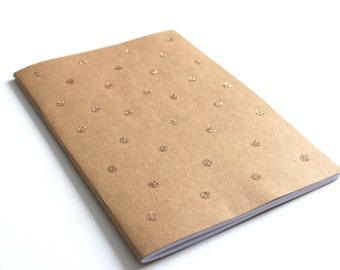 School cover Polkadots-gold glitter dots lined A5 notebook