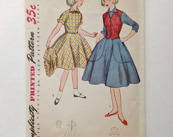Vintage Simplicity 4104 -  Girls One Piece Dress and Weskit - Size 7 - Dated 1952 - UNCUT