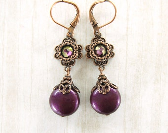 Plum Purple Renaissance Earrings - Swarovski Crystal Pearl Antique Style Copper Filigree - Blackberry Evening Earrings Plum Wedding Jewelry