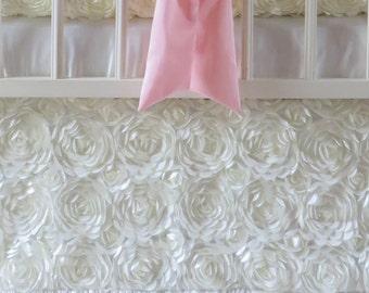 "Ivory Rosette Nursery Dust Ruffle, Princess Nursery Theme, Sewwhatgrandma, 16"" Drop 3 Sides Skirt"