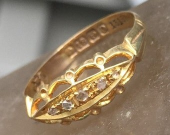 antique victorian diamond ring unique engagement ring 18k yellow gold 1863 64 - Victorian Wedding Rings