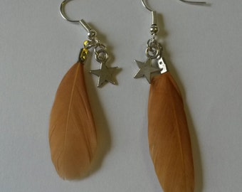 Lovely small brown feather earrings with a star charm, dangling earrings